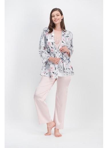 Arnetta Arnetta Rose Pudra Kadın Saten Askılı Pijama Takımı, Sabahlık 3'Lü Takım Pembe